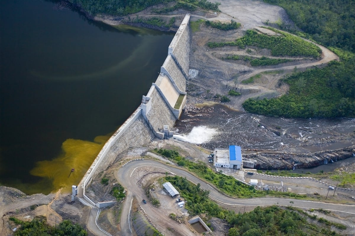 Aerial Of Chalillo Dam And Reservoir Belize